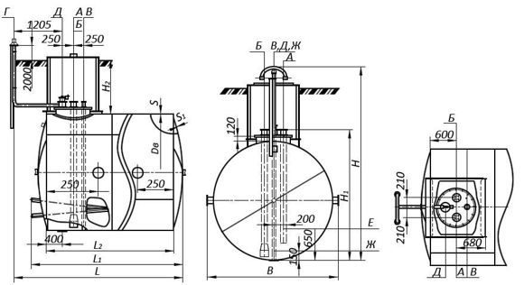 РГСП 10: описание горизонтального стального резервуара нефтепродуктов РГС 10 м3